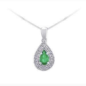 10kt White Gold Emerald & Diamond Necklace