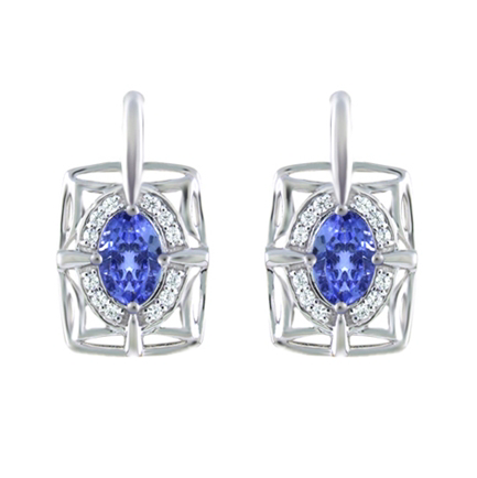 10kt White Gold Tanzanite & Diamond Earrings