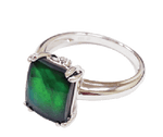Sterling Silver Rectangle Sapphire Ilene Ring by Korite Ammolite