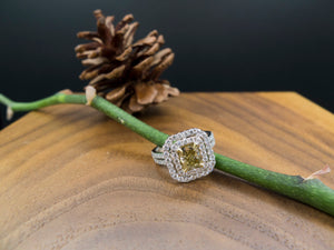 Double Halo Yellow Diamond Engagement Ring