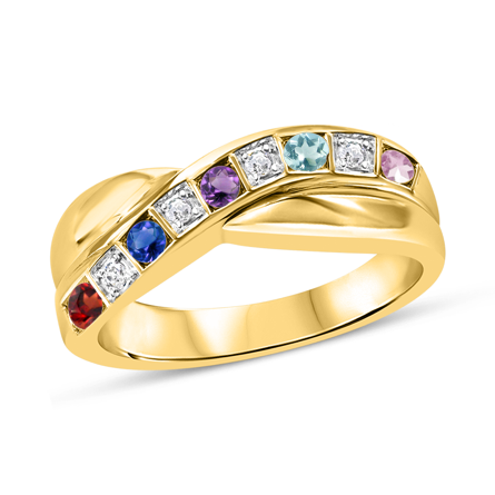T1019 Family Ring 3-7 Stones - Silver, White, Yellow, or Rose Gold