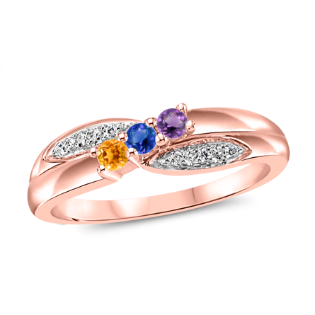 T1008 Family Ring 3-7 Stones - Silver, White, Yellow, or Rose Gold
