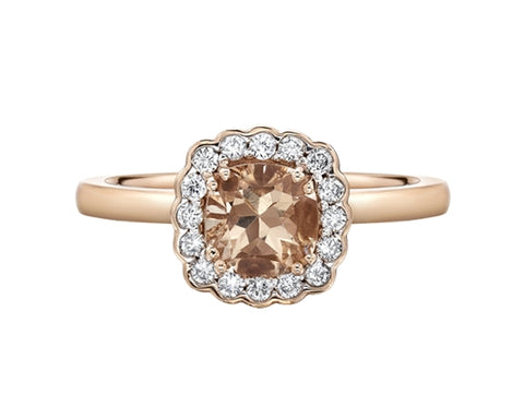 14kt Rose Gold Cushion Morganite & Diamond Ring