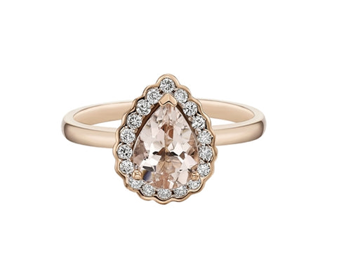 14kt Rose Gold Teardrop Morganite & Diamond Ring