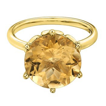 10kt Yellow Gold Citrine Flower Ring
