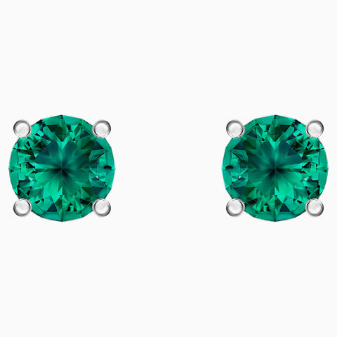 SWAROVSKI - ATTRACT STUD PIERCED EARRINGS, GREEN