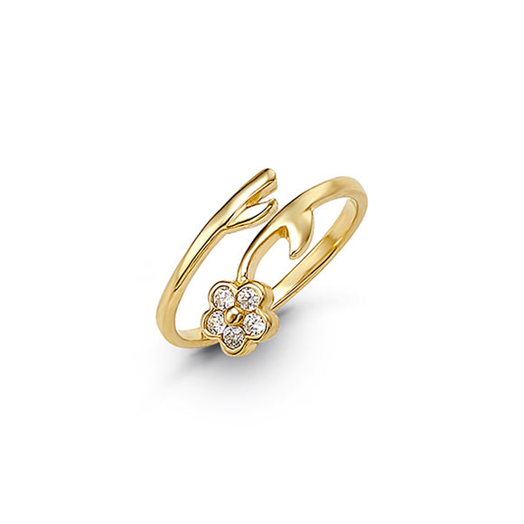 10kt Yellow Gold CZ Flower Mindi or Toe Ring - Adjustable