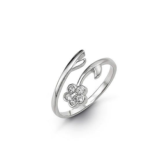10kt White Gold CZ Flower Mindi or Toe Ring - Adjustable
