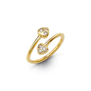 10kt Yellow Gold Heart CZ Mindi or Toe Ring - Adjustable