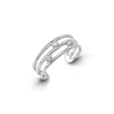 10kt White Gold CZ Mindi or Toe Ring - Adjustable
