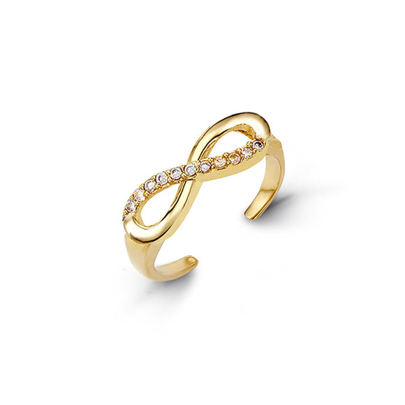 10kt Yellow Gold Infinity CZ Mindi or Toe Ring - Adjustable