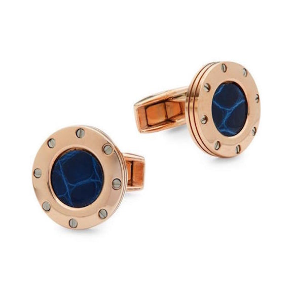Calibre Blue Leather Cufflinks