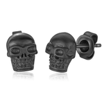 ITALGEM STEEL BLACK SKULL EARRINGS