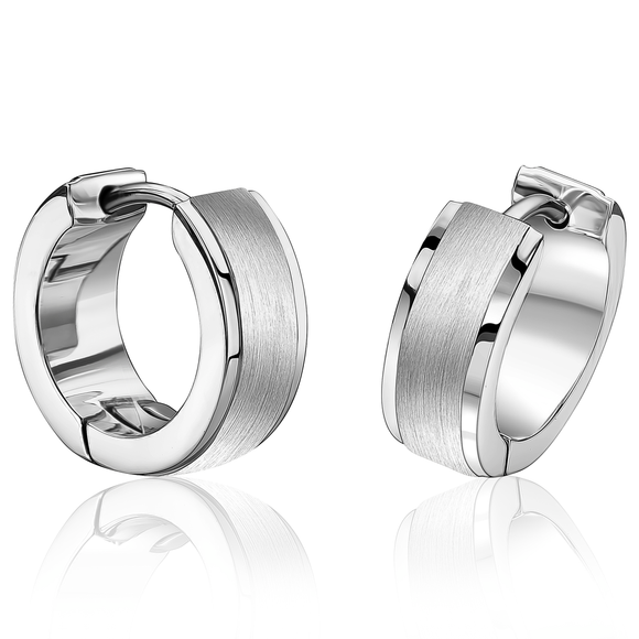 ITALGEM STEEL HUGGIE EARRINGS