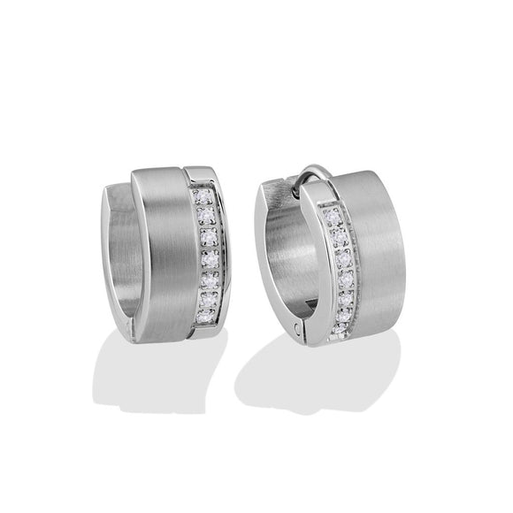ITALGEM STEEL CZ EARRINGS