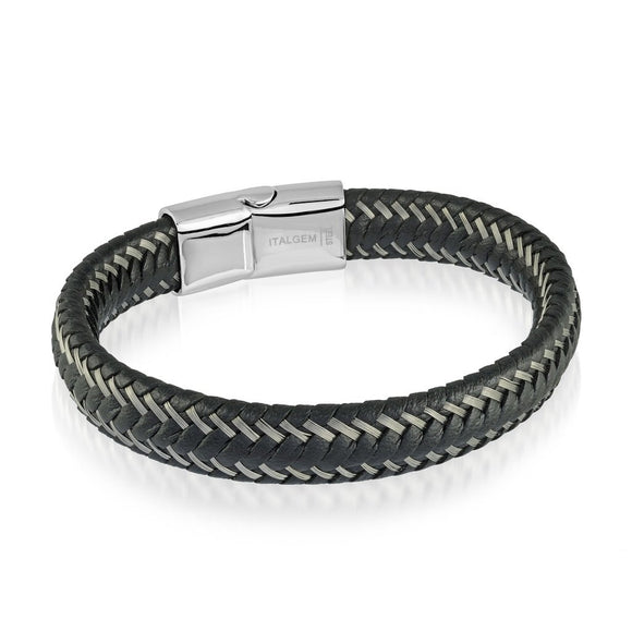 ITALGEM BLACK LEATHER BRACELET