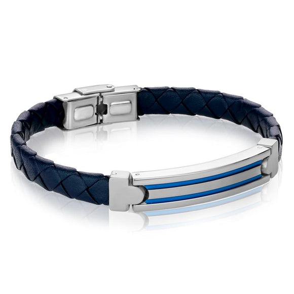 ITALGEM STEEL BLUE LEATHER BRACELET