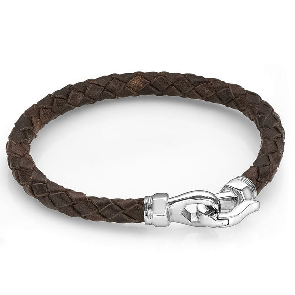 ITALGEM STEEL BROWN LEATHER BRACELET