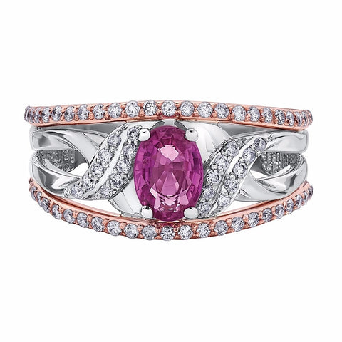 WHITE AND ROSE GOLD DIAMOND RING WITH PINK SAPPHIRE