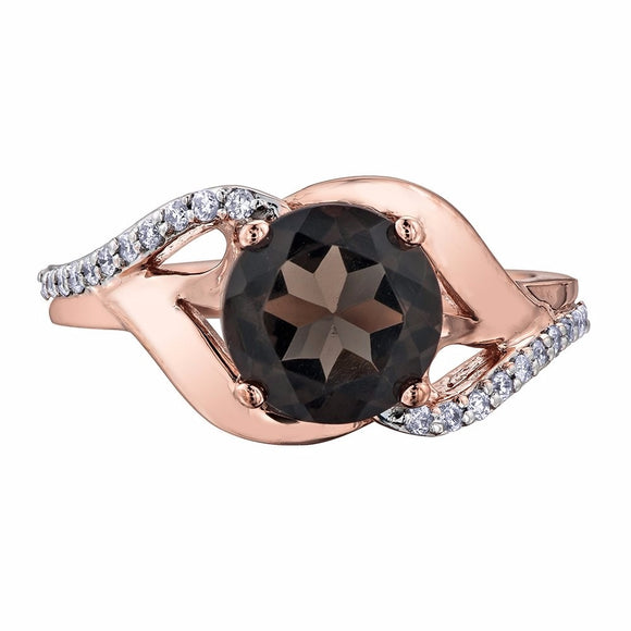 10kt Rose Gold Smokey Quartz & Diamond Ring