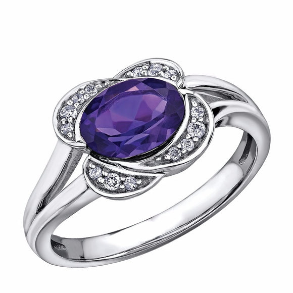 10kt White Gold Amethyst & Diamond Ring