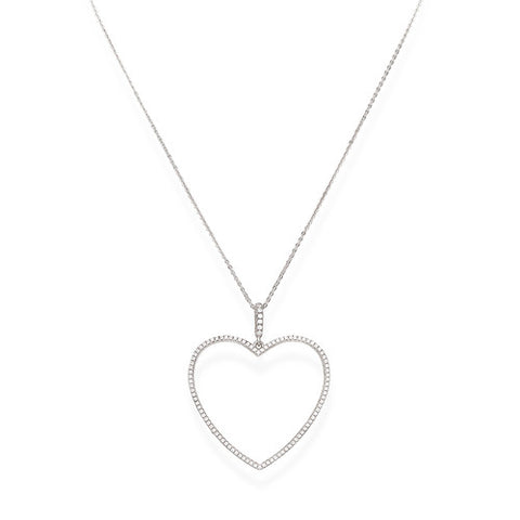 AMEN SILVER  Heart cz Necklace
