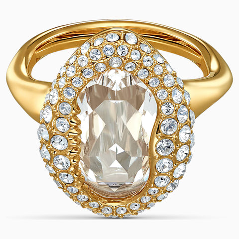 SWAROVSKI SHELL RING, WHITE, GOLD-TONE PLATED
