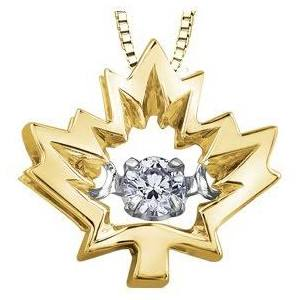 MAPLE LEAF PULSE DIAMOND PENDENT