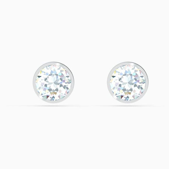 SWAROVSKI - TENNIS STUD PIERCED EARRINGS, WHITE