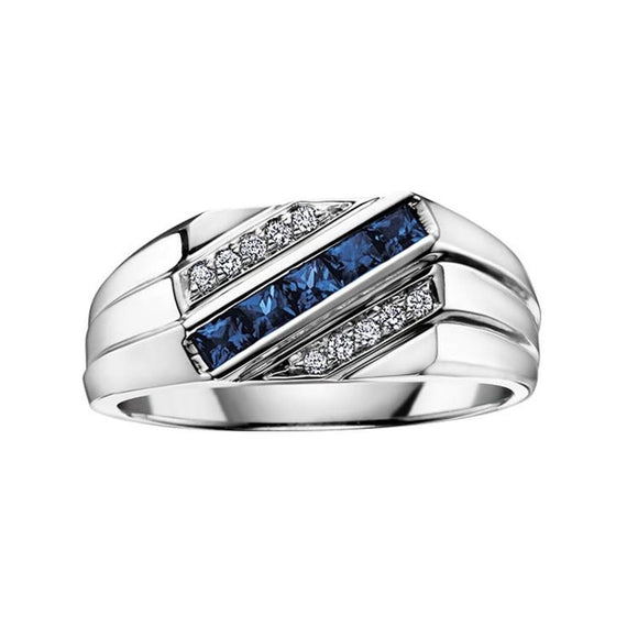 Mens White Gold Sapphire + Diamond Ring