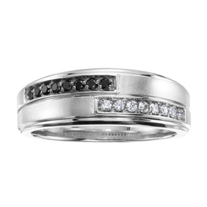 Mens White Gold Mens Black and White Diamond Ring