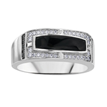 Mens White Gold Onyx + Diamond Ring