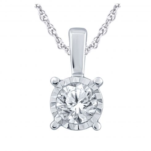 14kt White Gold .15ct Diamond Solitaire Pendant