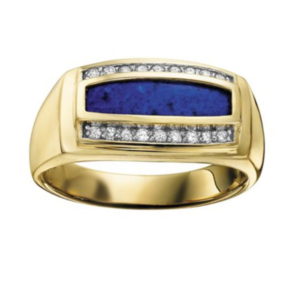 Mens Yellow Gold Mens Lapis + Diamond Ring
