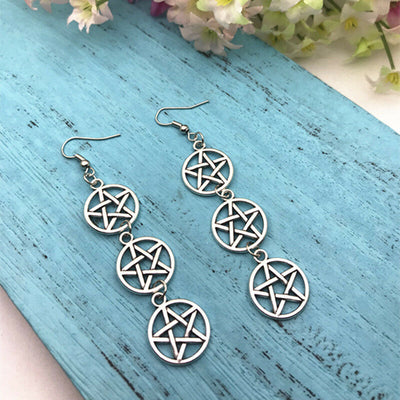Triple Pentagram Earrings  - Cradle Of Goth
