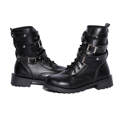 Motorcycle Boots (Handmade and Vegan) black / 4.5 - Cradle Of Goth