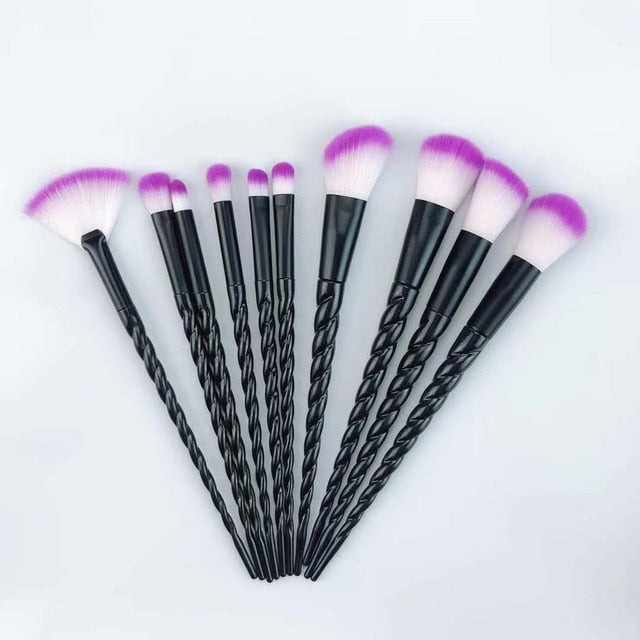 Unicorn Makeup Brushes Set (10 pieces, Vegan) 06 - Cradle Of Goth