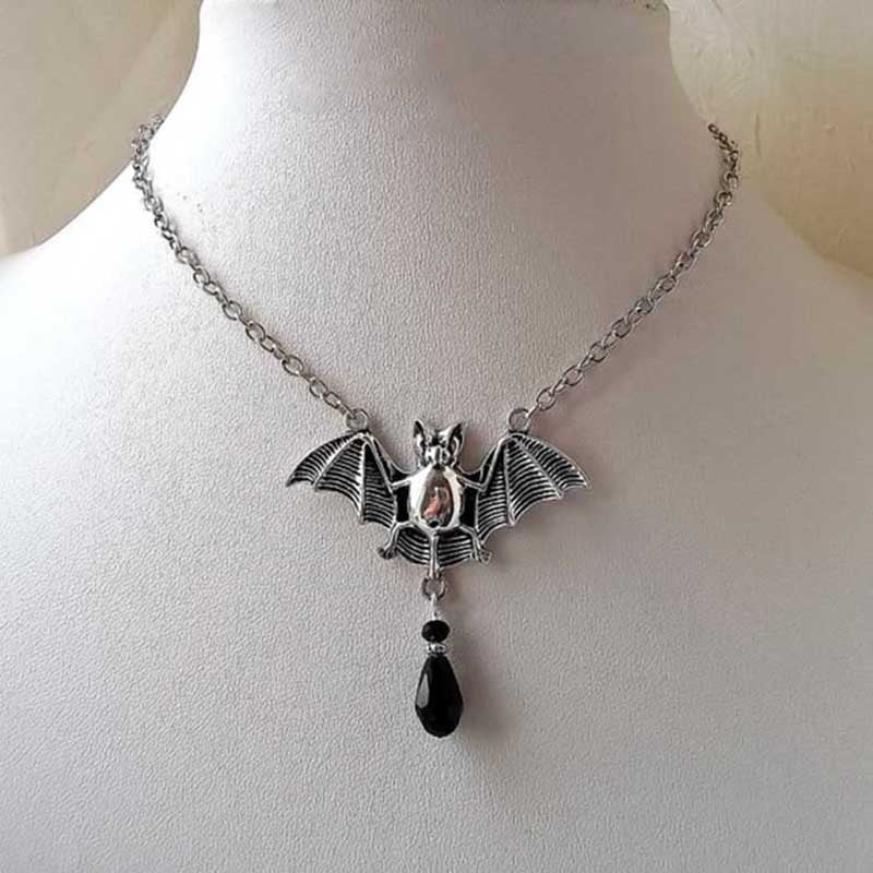 Bat Necklace with Crystal  - Cradle Of Goth