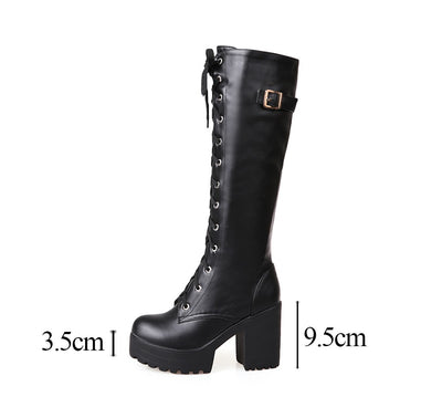 Knee High Goth Boots (Vegan Leather) black shoes / 4 - Cradle Of Goth