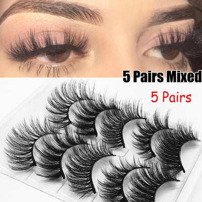 5 Pairs 3D Eyelashes (Cruelty-Free)  - Cradle Of Goth