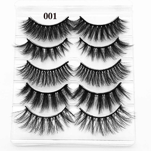 5 Pairs 3D Eyelashes (Cruelty-Free) 15mm / 001(Mixed Styles) - Cradle Of Goth