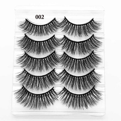 5 Pairs 3D Eyelashes (Cruelty-Free) 15mm / 003 - Cradle Of Goth