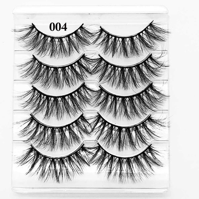 5 Pairs 3D Eyelashes (Cruelty-Free) 15mm / 004 - Cradle Of Goth