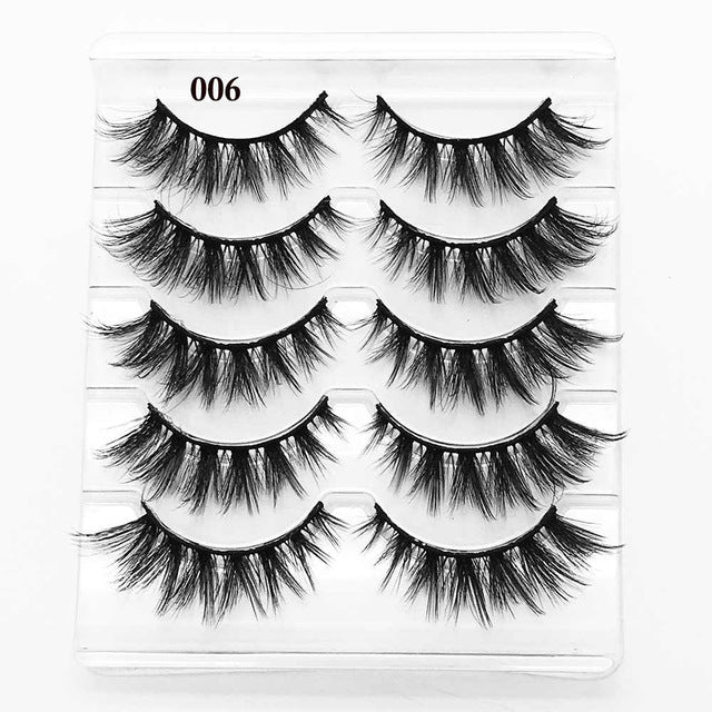 5 Pairs 3D Eyelashes (Cruelty-Free) 15mm / 007 - Cradle Of Goth