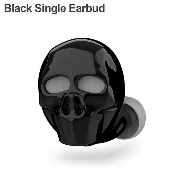 Skull Bluetooth Earphones Single Earbud  Black - Cradle Of Goth