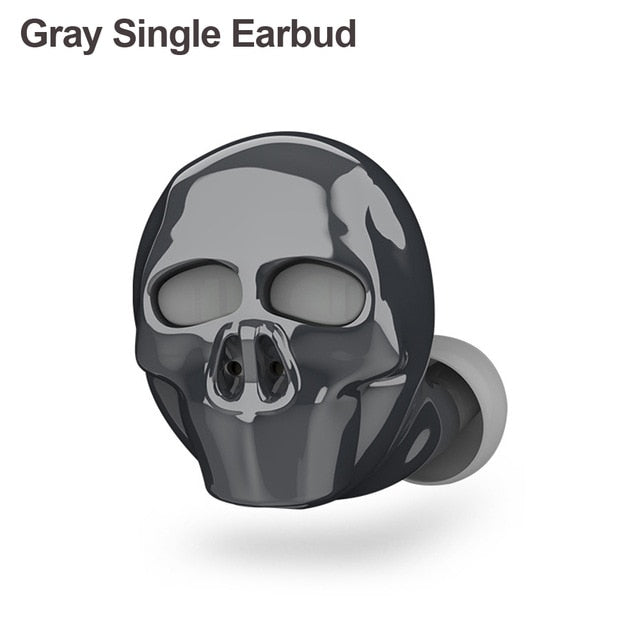 Skull Bluetooth Earphones Single Earbud  Gray - Cradle Of Goth