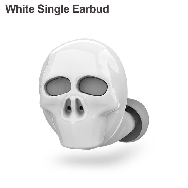 Skull Bluetooth Earphones Single Earbud  White - Cradle Of Goth