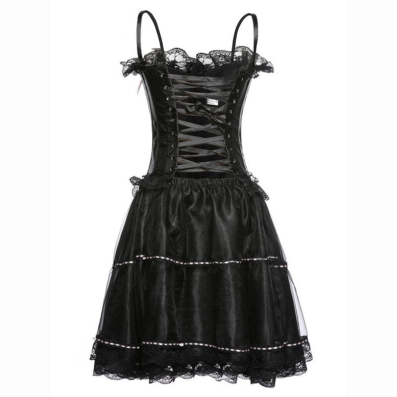 Satin Corset Dress (plus sizes available)  - Cradle Of Goth