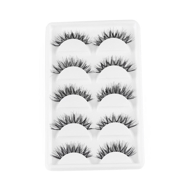 5 Pairs 3D Eyelashes (Cruelty-Free) 15mm / HW-8 - Cradle Of Goth