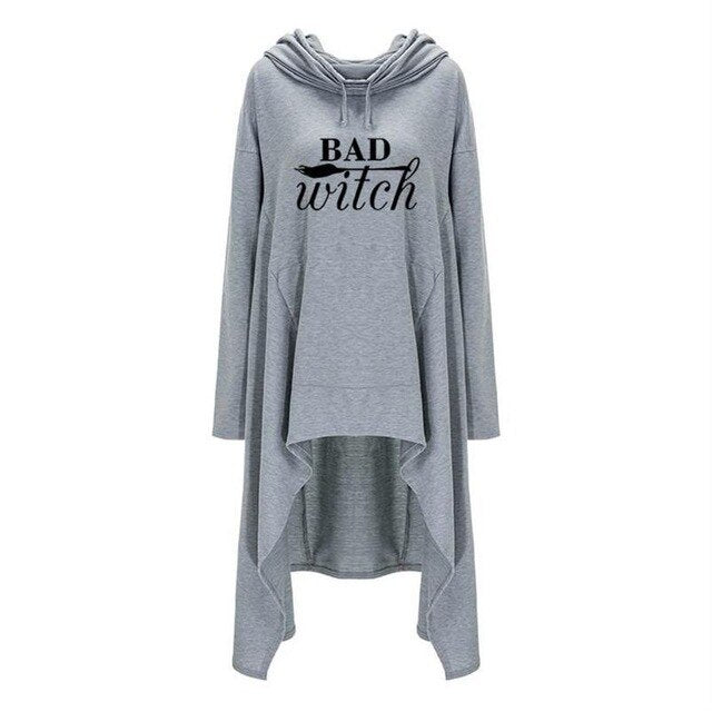 Bad Witch Hoodie (plus sizes available) Grey / S - Cradle Of Goth